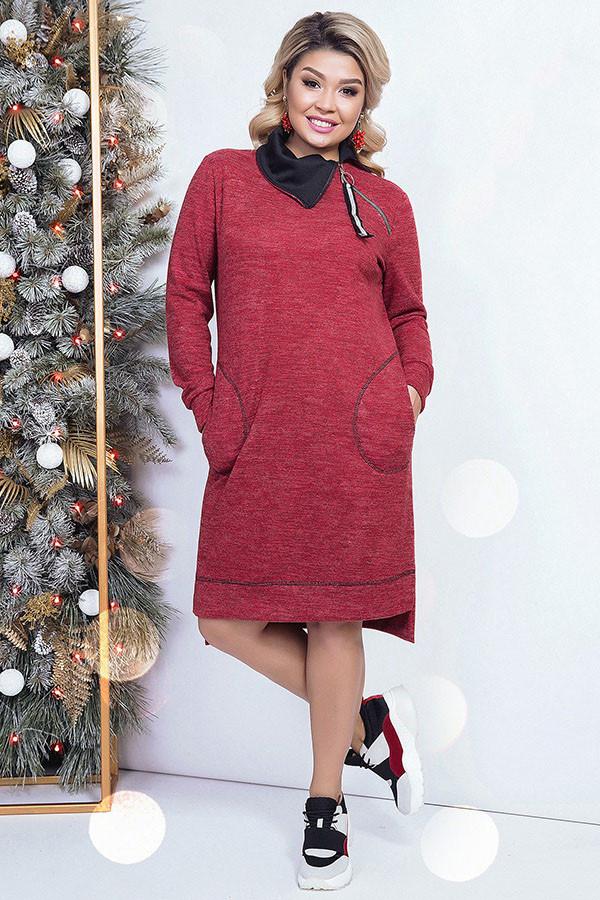 Женское ангоровое платье с карманами батал 48-58