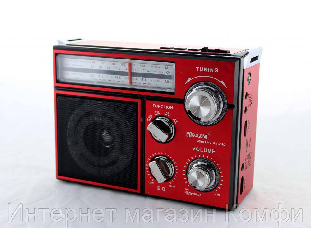 🔥✅ Радиоприемник колонка MP3 Golon RX-BT552D с фонарем