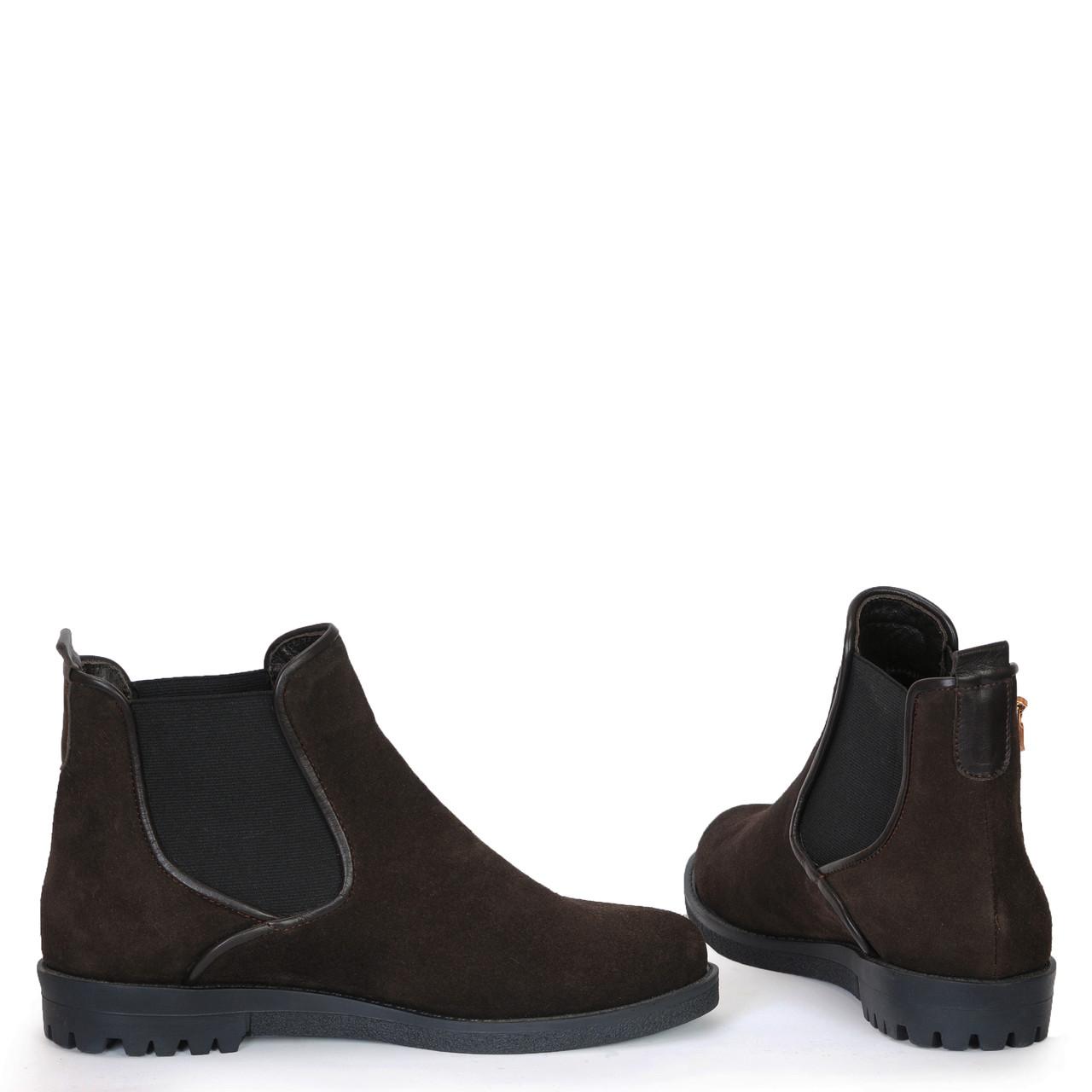 Женские кожаные замшевые ботинки полуботинки  челси TIFFANY на низком каблуке