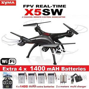 🔥✅ Радиоуправляемый квадрокоптер Syma X5SW-1 Black, White HD+ FPV с HD WI-FI камерой на пульте управления
