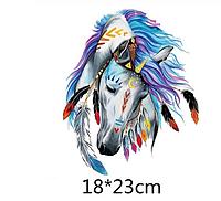 Термонаклейка Конь Индеец большой 1 шт, аппликация для одежды