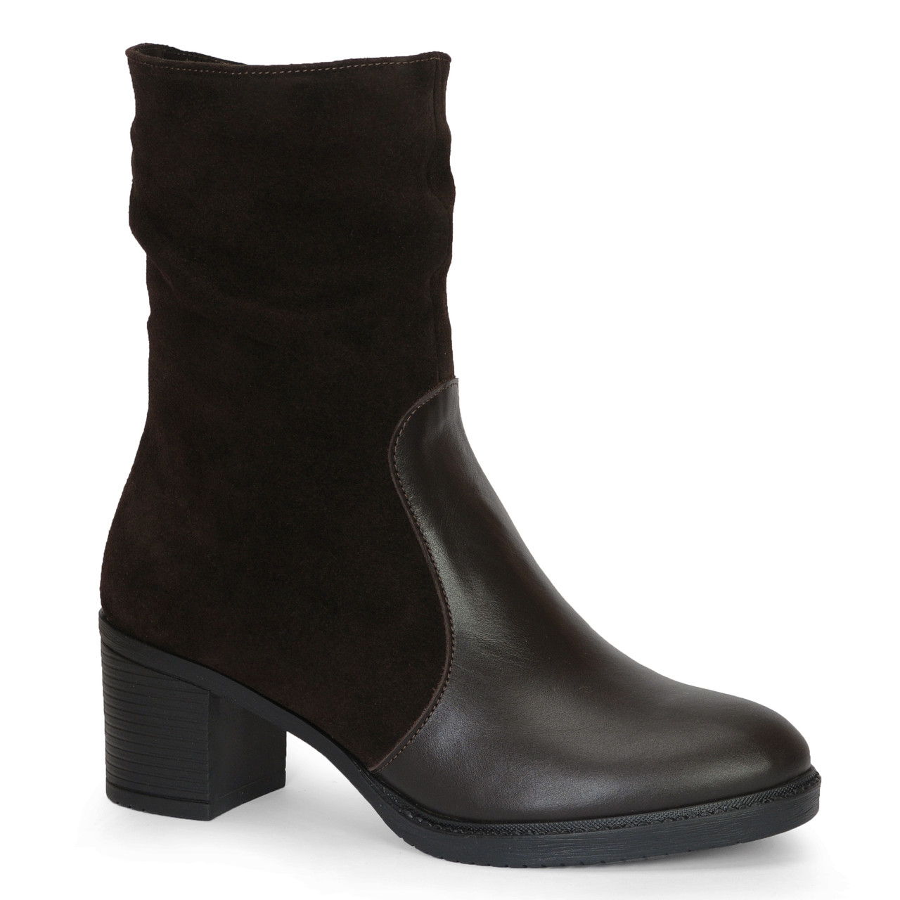Женские кожаные ботинки TIFFANY на среднем каблуке танкетке платформе