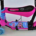 Самокат трехколесный 5в1 розовый с ручкой, подсветкой платформы и светящимися колесами деткам от 1года, фото 4