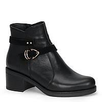 Жіночі шкіряні черевики TIFFANY на середньому каблуці з ремінцем