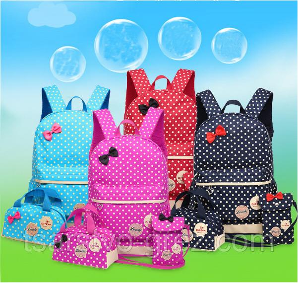 Рюкзак женский детский Набор 3 в 1 в горошек для девочки 4 цвета