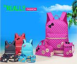 Рюкзак женский детский Набор 3 в 1 в горошек для девочки 4 цвета, фото 2