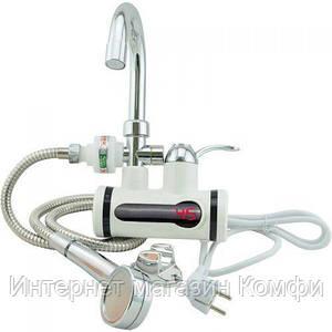 🔥✅ Проточный водонагреватель электрический на кран Delimano с LCD дисплеем и душем боковое подключение