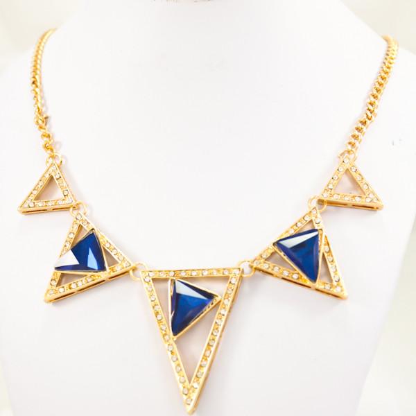 Золотистое Колье с треугольниками синего цвета