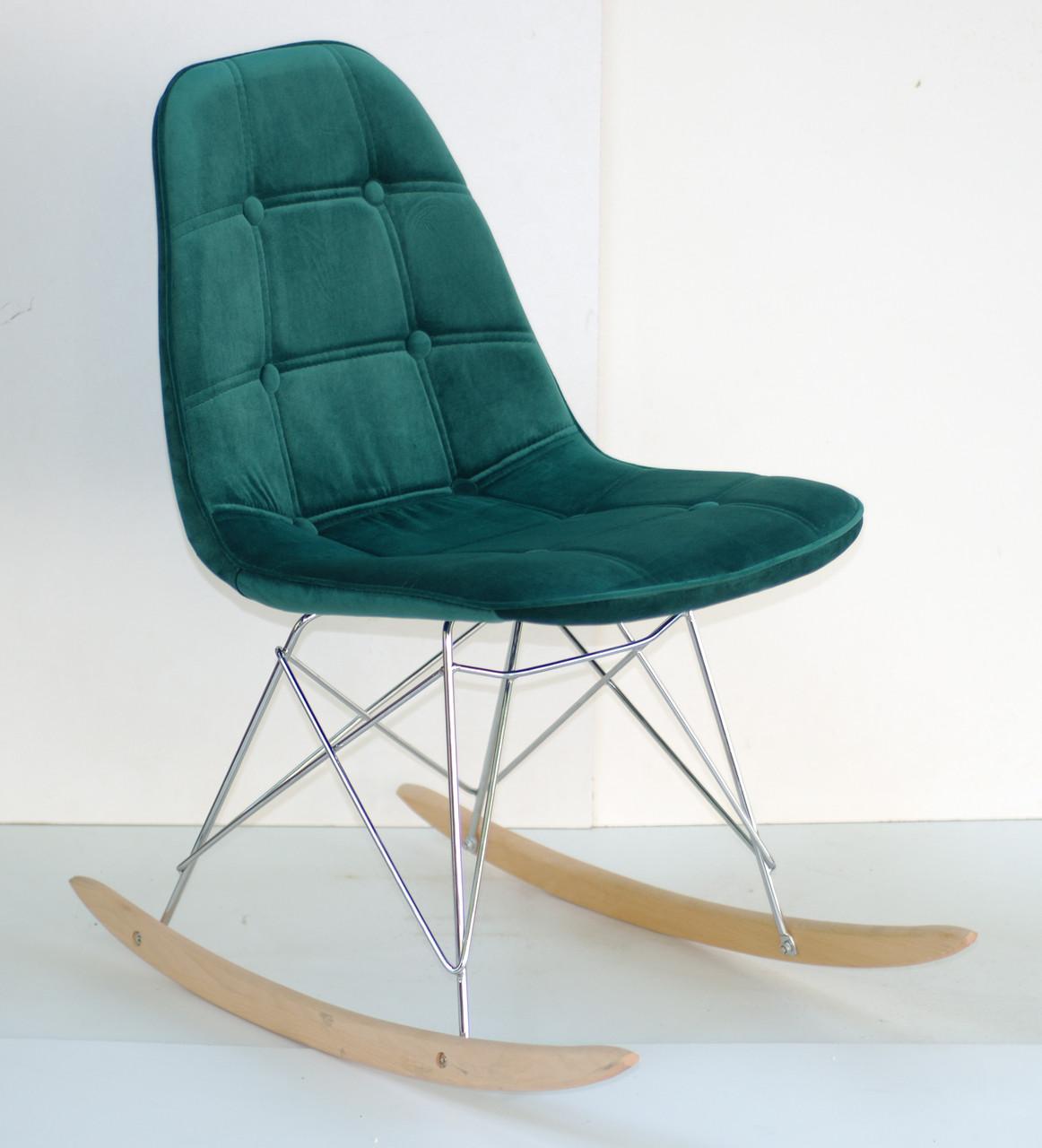 Кресло-качалка Alex Rack бархат , зеленый в-5