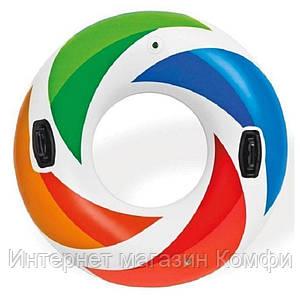 🔥✅ Пляжный надувной круг Intex 58202 цветной с ручками 122 см для плавания, купания