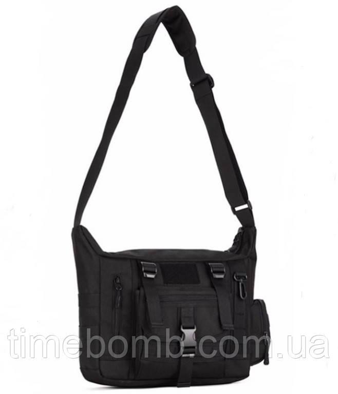 Армейская наплечная тактическая сумка 10L черная