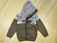 Детская вязаная кофта с капюшоном для мальчика 1-3 года