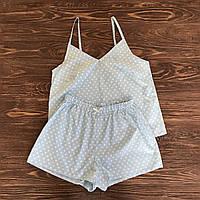Голубая пижама с шортами в сердечки, фото 1