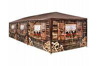 Садовый павильон-палатка 9х3м 8 стен (Коричневый)