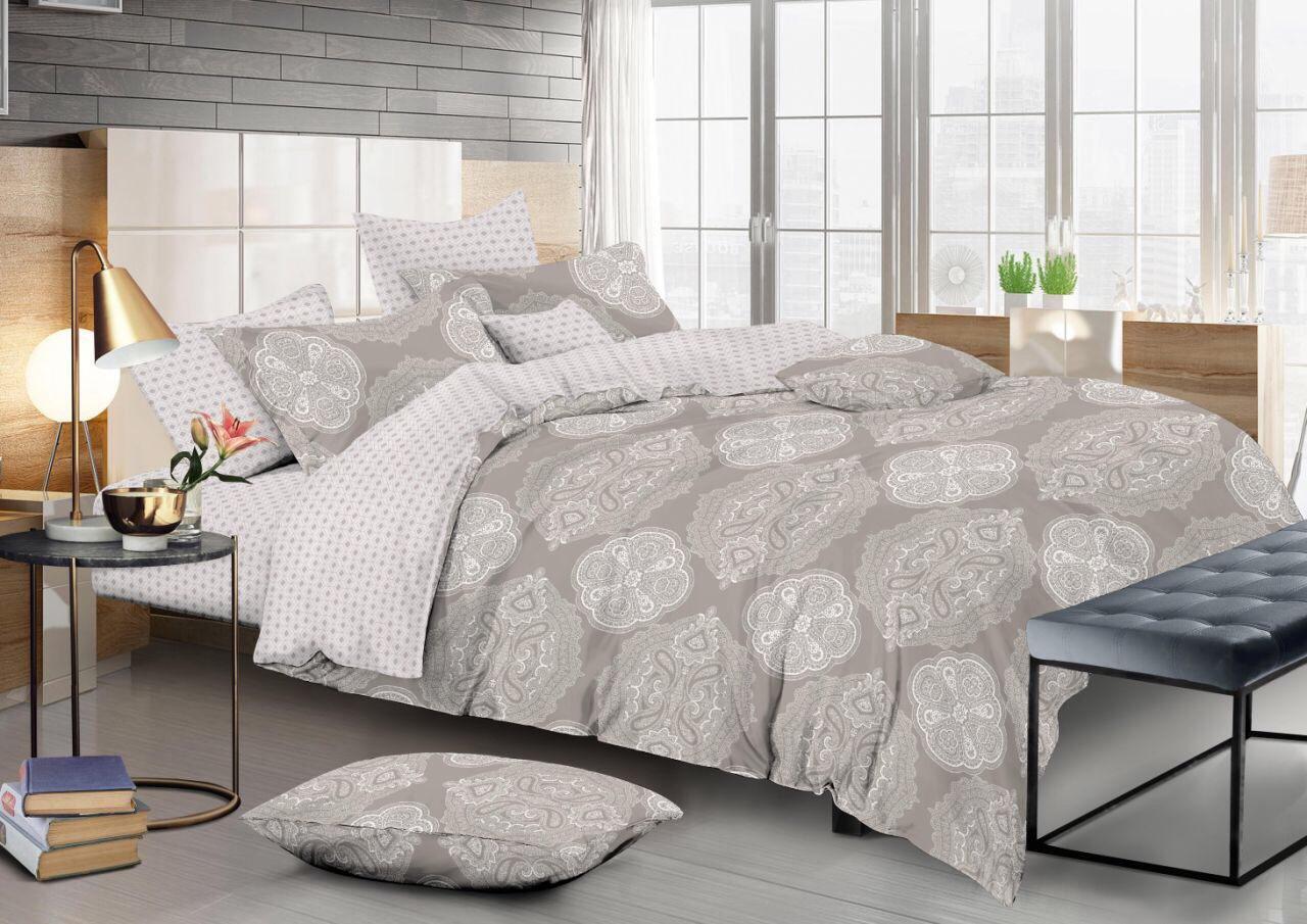 Двуспальный комплект постельного белья евро 200*220 сатин (12475) TM КРИСПОЛ Украина