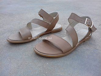 Женские сандалии кожаные светло-коричневые
