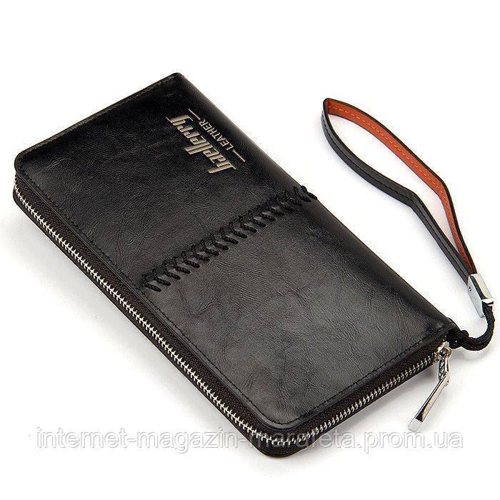 Мужское кожаное портмоне-кошелек Wallerry SW008 - Чёрный, бумажник