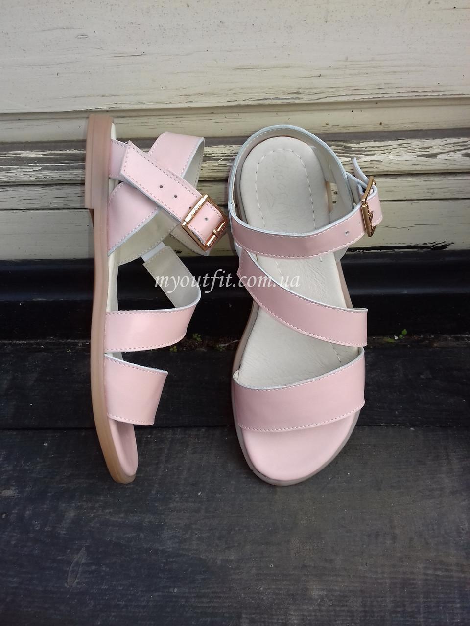 Женские сандалии кожаные Пудра Размер 37