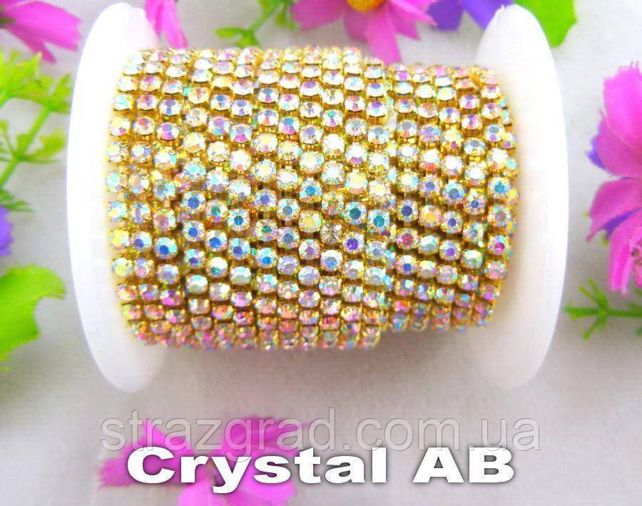 Страхова ланцюг Щільна. SS18 Crystal АВ - Золото. Ціна за 0,5 м