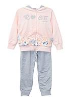 Костюм (толстовка, брюки) ТМ Grace 70593 серо-розовый цвет (104-110)