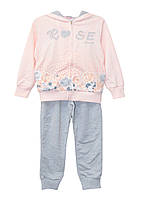 Костюм (толстовка, брюки) ТМ Grace 70593 серо-розовый цвет (116-122)