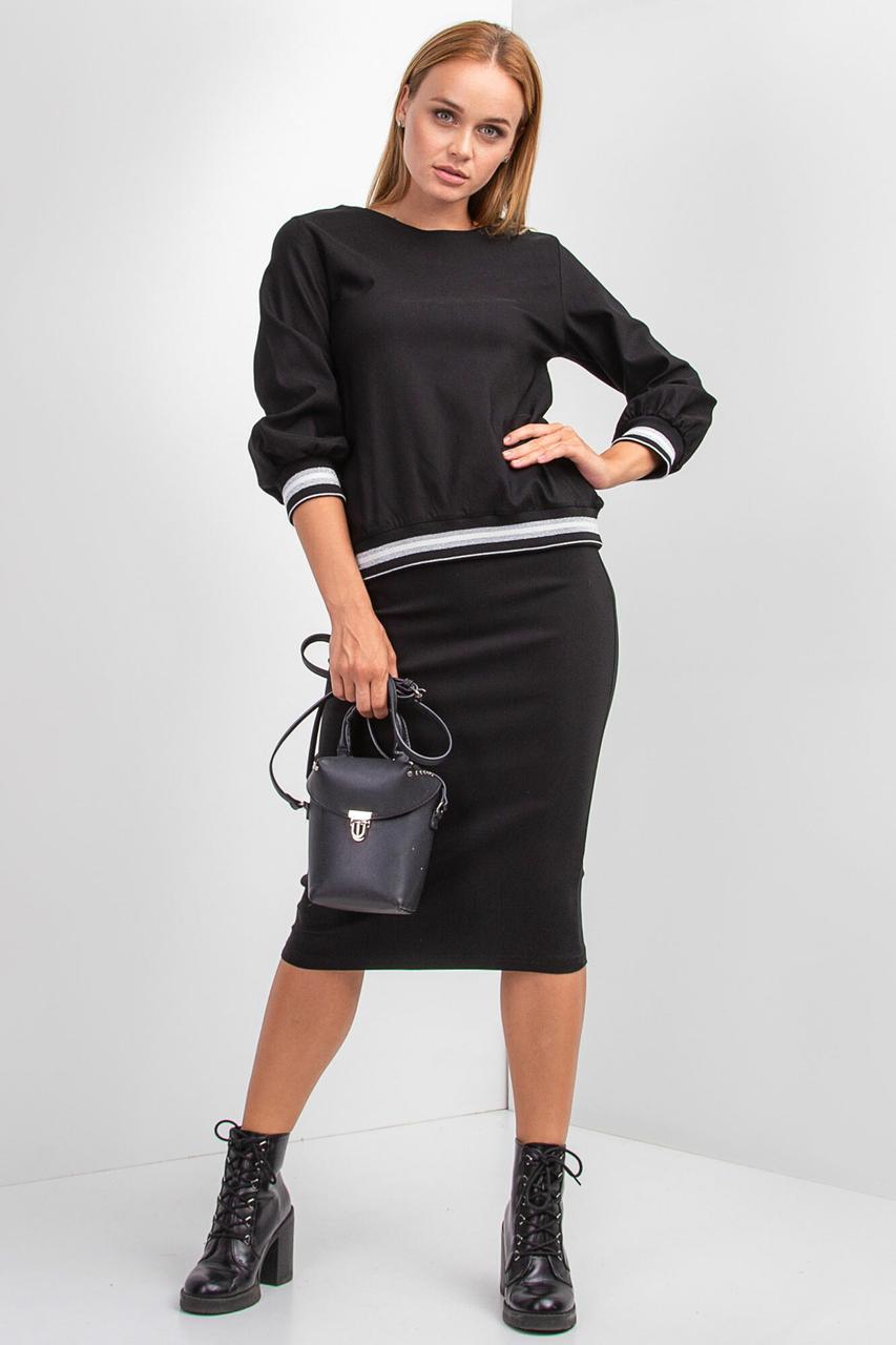 Костюм RIMMA с люрексом из юбки-карандаш и кофты с рукавами-фонариками в черном цвете