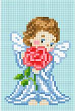 АМД-107. Алмазная мозаика Ангелочек с розой. 10х15см