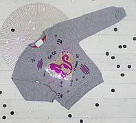 Батник детский пайетки-перевертыши на девочку начес 1,2,3,4 года (4 ед. в уп.) светло серый