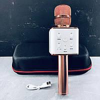 Беспроводной микрофон для караоке Q7 Розовое золото