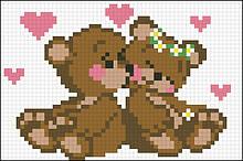 АМД-112. Алмазная мозаика Влюбленные мишки. 10х15см