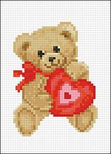 АМД-113. Алмазная мозаика Мишка с сердечком. 10х15см