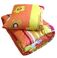 Шерстяное  детское одеяло в кроватку с подушкой, ткань поликотон