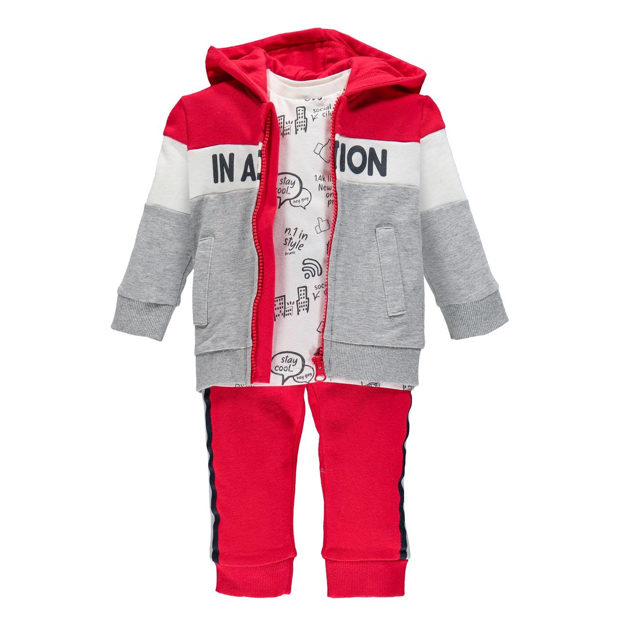 Спортивний костюм з трьох частин Brums 193BDEP002-743 червоний з сірим 86-98