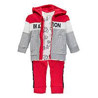 Спортивний костюм з трьох частин Brums 193BDEP002-743 червоний з сірим 86-98, фото 1
