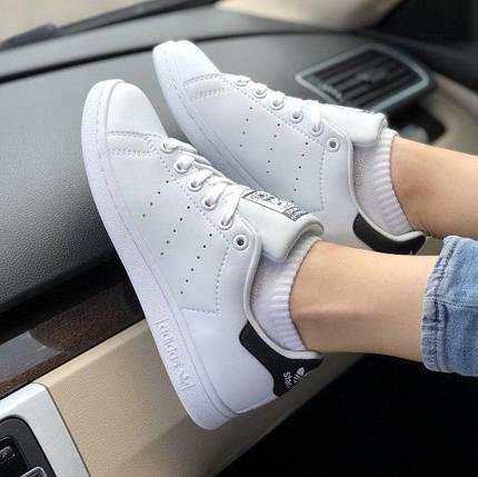 Женские и мужские кроссовки Adidas Stan Smith White/Black, фото 2