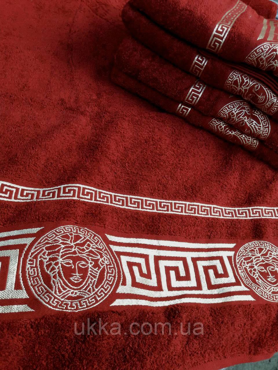 Махровое полотенце баня 70х140 бордо 100% хлопок Узбекистан Версаче