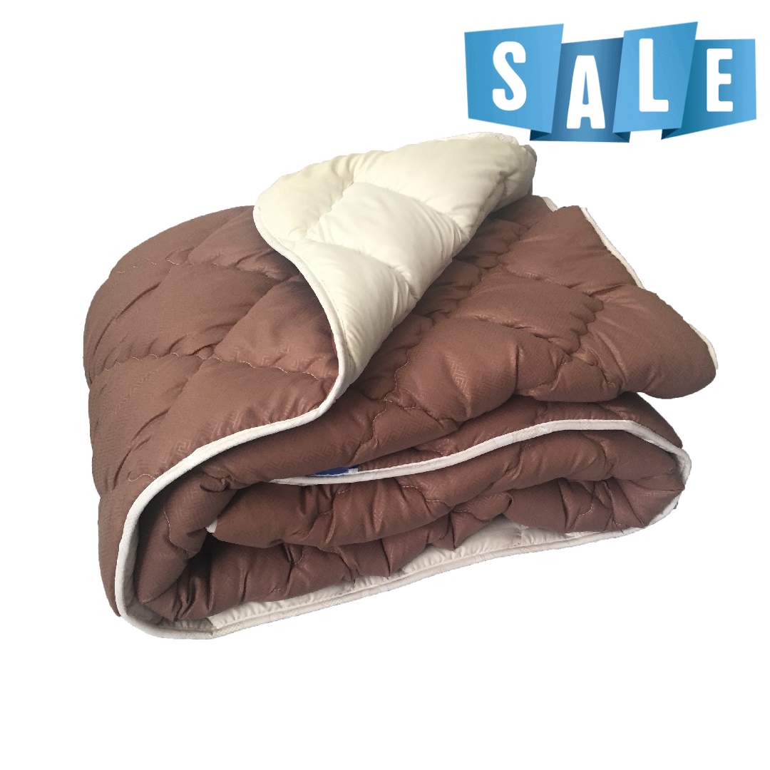 Двуспальное одеяло микрофибра/холофайбер ОДА 175см на 210см шоколад/беж
