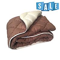 Двуспальное одеяло микрофибра/холофайбер ОДА 175см на 210см шоколад/беж, фото 1