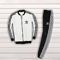 Мужской спортивный костюм в стиле Adidas Черный с белым, фото 1