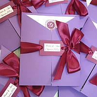 """Свадебная пригласительная ручной работы """"Violet"""" для фиолетовой или лавандовой свадьбы"""