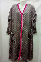 Халат женский стильный с принтом на пуговицах размер 3XL-5XL купить оптом со склада 7км Одесса