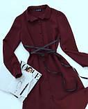 Платье женское с поясом марсала,бежевое,пудра,фиолетовое, фото 5