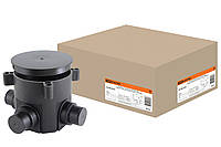 Коробка установочная СП D70х72мм, 4 ввода, черная, для заливки в бетон, IP44 TDM