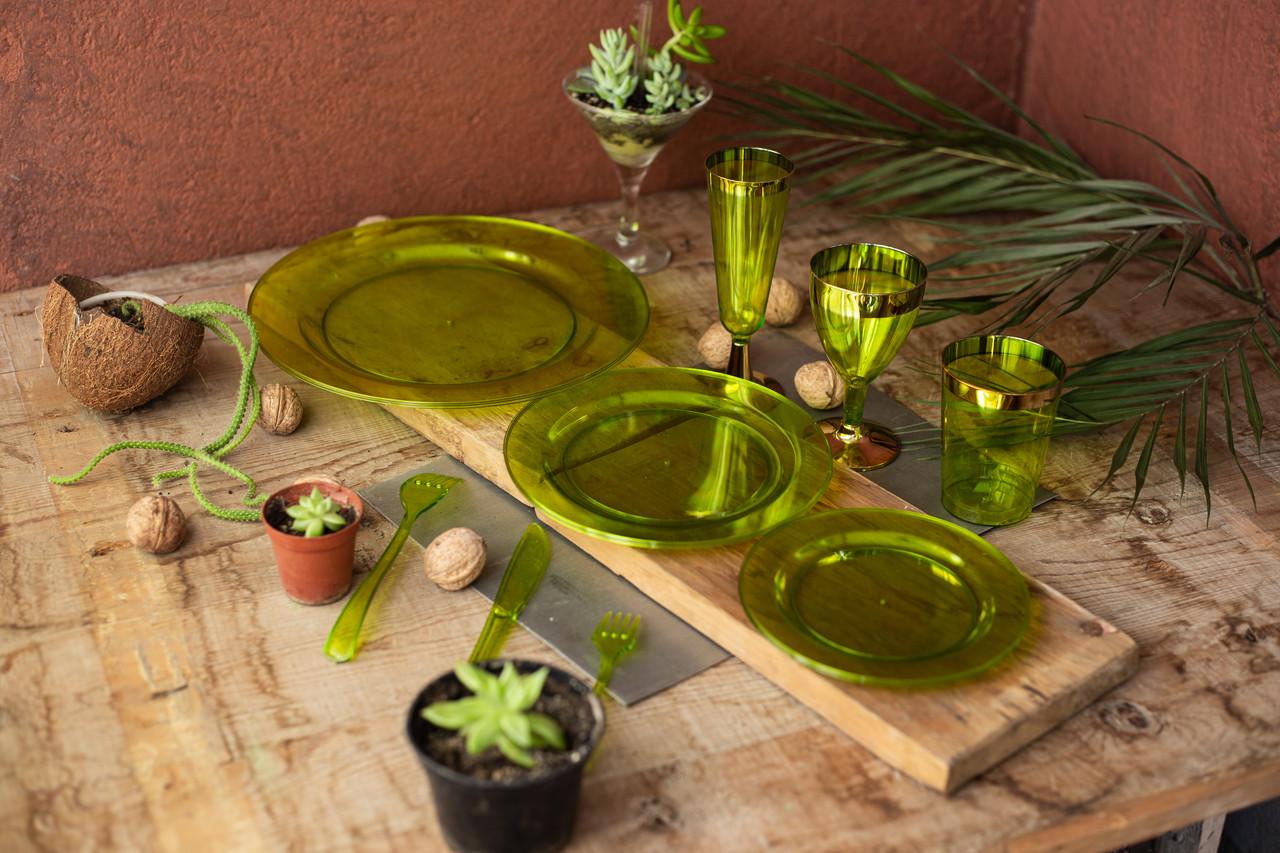 Посуда Capital For People пластиковая многоразовая плотная для пикника. Полная сервировка стола 84 шт 6 чел