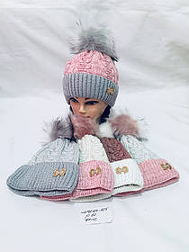 Шапка для девочки купить в Одессе р. 52 флисовая подкладка