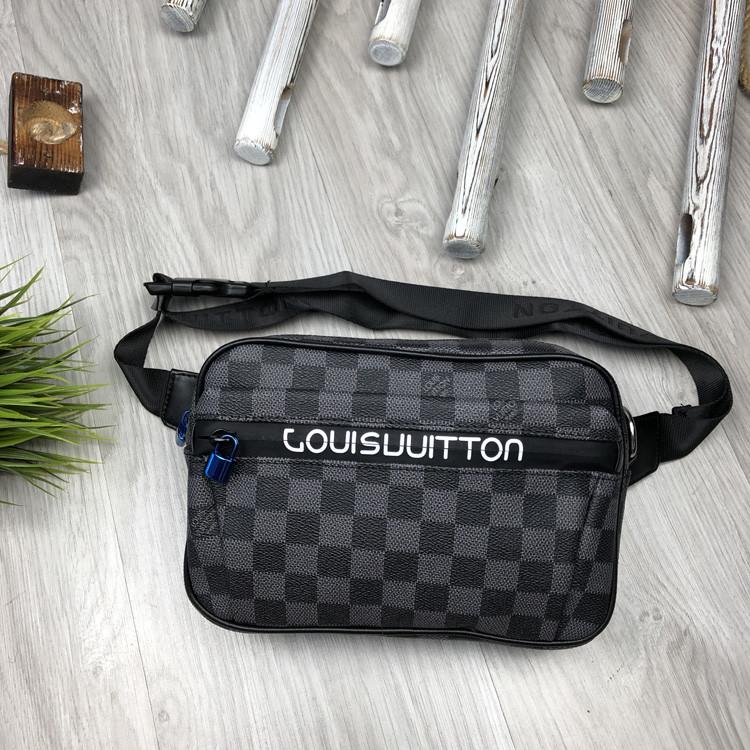 Хайповая Мужская бананка Louis Vuitton серая Турция Качество поясная сумка на пояс Модная Луи Виттон реплика
