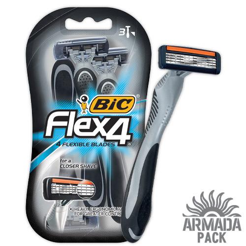 """Станок для бритья мужской """"BIC 4 Flex"""", 3 шт"""
