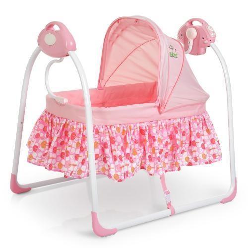 Детская кроватка 80308-8: люлька-качалка, музыка, адаптер, 6 скоростей, розовая