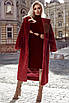 Удлиненная шуба классического кроя  с капюшоном,цвет марсала, фото 4
