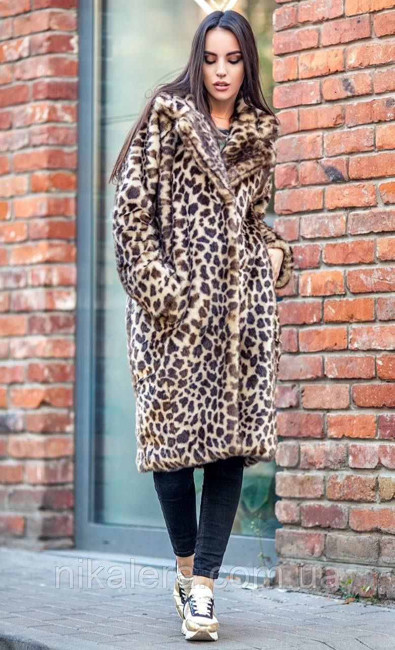 Леопардовая  шубка из эко- меха